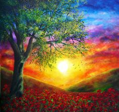 Remembrance by AnnMarieBone on deviantART ~ intense summer sunset ~ poppy field ~ acrylic