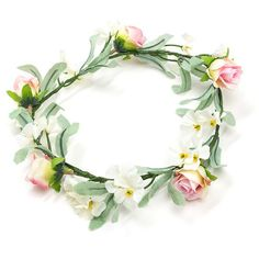 Festival Fave Flower Crown IVORYMULTI ($8.50) ❤ liked on Polyvore featuring accessories, hair accessories, white, floral hair accessories, white garland, fake garland, white flower crown and artificial flower garland