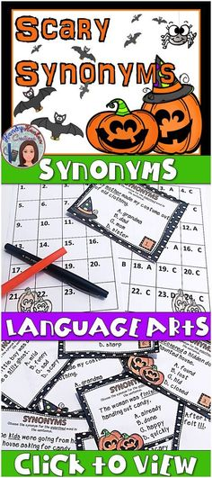 Synonym Language Arts center game for your elementary classroom.