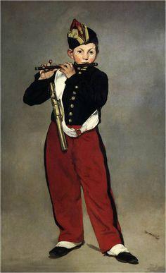 마네, 피리부는 소년, 1866, 오르세미술관. 배경처리도 지나치게 단순하고 또 소년의 모습이 평면적이라 하여 많은 비난을 받았다.