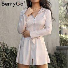 Brand Name:BerryGo; Dress Winter, Winter Dresses, Trench Dress, Woman Standing, Mandarin Collar, Outerwear Women, Street Wear, Slim, Zipper