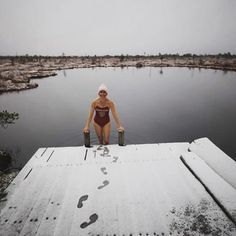 When in #Estonia for the first snow fall of the season, go for a swim! Better yet. Cross a snowy bog on snowshoes, find a lake in the bog and enjoy the dip! The odd part about this winter #swim was when I reached the halfway point in the lake, look