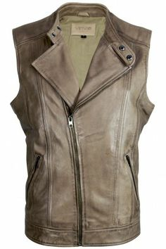 Latte Taupe Asymmetrical NZ Lambskin Sleeveless Leather Jacket Vest - Joel by VIPARO | The Grand Social