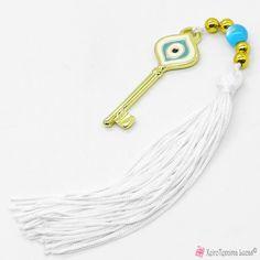 Κλειδί γούρι μάτι 2021 με λευκό σμάλτο και φούντα Tassel Necklace, Jewelry, Jewlery, Jewerly, Schmuck, Jewels, Jewelery, Fine Jewelry, Jewel