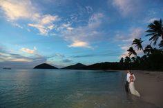 Taking in the #sunset on their #weddingday #NavatuStarsFiji #Fiji #BeachWedding