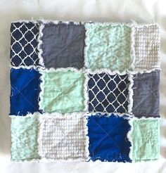 Rag Quilt Nursery Decor Baby Shower Gift Baby Quilt by KEandCo