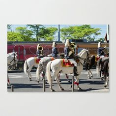 Garde à cheval Stretched Canvas by Sébastien BOUVIER - $85.00 Cow, Framed Art, Framed Prints, Horses, Animals, Horse, Animales, Animaux, Cattle