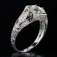 ART DECO DIAMOND SEMI MOUNT SWIRL FILIGREE 6mm ENGAGEMENT RING SETTING VINTAGE