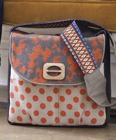 Look at this #zulilyfind! Sage & Harper Natural & Orange Polka Dot Diaper Bag by Sage & Harper #zulilyfinds