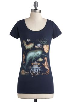 Creatures of the Whim-sea Tee - Cotton, Knit, Mid-length, Blue, Print with Animals, Casual, Short Sleeves, Good, Scoop, Quirky, Jersey, Excl...