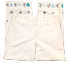 Ann Taylor Loft Cropped Capri Embroidered Womens Pants Size 6