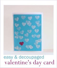If you're looking for ideas for valentines day cards for kids, you'll love this decoupage card. It's so easy and requires minimal supplies!