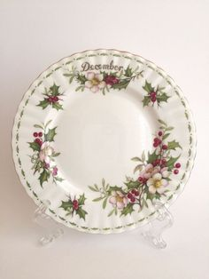 Royal Albert Bone China Flower of the Month December Rose Salad Plate England #RoyalAlbert