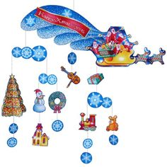 Mobile: Christmas,Home and Living,Paper Craft,Christmas,night sky,Snow,Christmas Tree,wreath,Mobile,sled,Santa Claus,Moving,reindeer,present,toy,Santa Claus