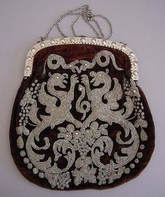 Victorian Brown Velvet Purse With Tiny Cut Steel Beads