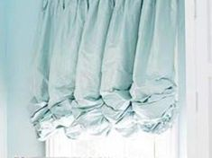 Gathered Balloon Shade in a beautiful blue creates a tranquil soft feeling. Master Bedroom Closet, Linen Bedroom, Window Coverings, Window Treatments, Curtains With Blinds, Baby Curtains, Swag Curtains, Balloon Curtains, Balloon Shades