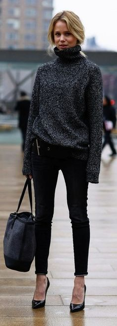 tregging, sweet sweater, bag, black style.