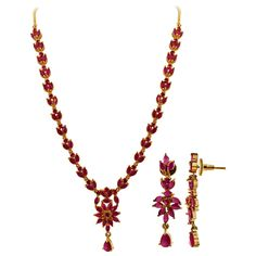 Gold Plated Simulated Ruby Floral Indian Ethnic Necklace Earrings Set