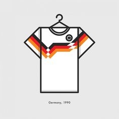 World Cup Minimal Football Kits Germnay 1990 Illustration | Lucas Jubb Design & Illustration