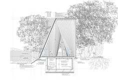 Gallery of Sayama Forest Chapel / Hiroshi Nakamura & NAP - 12 Architecture Cool, Architecture Drawings, Section Drawing, Architect Drawing, Architectural Section, Architectural Presentation, Presentation Layout, Design Process, House Design