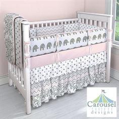 Gray, White, and Pink Custom Baby Girl Bedding #carouseldesigns