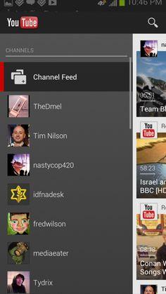YouTube Android custom navigation screenshot