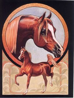 ARABIAN HORSE PRINT - ART NOUVEAU CHESTNUT - RICH RUDISH - NOT MATTED