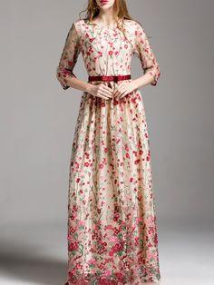 Flowers Embroidered Maxi Dress -SheIn(Sheinside)