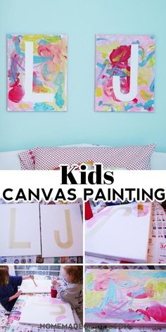 This diy canvas art for kids project is easy to make and looks so cute hanging in a kids room. This is such an easy art project for kids! art for toddlers Kids Canvas Painting Kids Canvas Art, Easy Canvas Painting, Canvas Crafts, Diy Canvas, Diy Painting, Easy Painting For Kids, Easy Art For Kids, Art Ideas For Teens, Art Projects For Adults