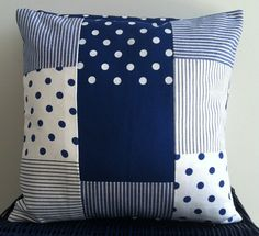 Polka Dots Navy Patchwork Pillow / Cushion by CasaFantasia on Etsy