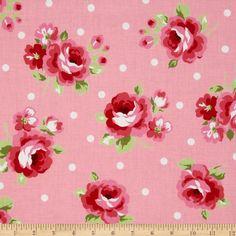 2012 Lecien Flower Sugar Large Rose Dot Pink- I'm using 2011 Vintage Tile, Vintage Paper, Vintage Floral, Fabric Patterns, Flower Patterns, Print Patterns, Floral Fabric, Floral Prints, Shabby Chic Fabric