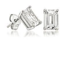 Ladies Emerald Cut Diamond Stud Earrings by GoelTalaDiamondsInc, $859.99