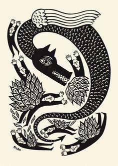 lino prints fire dragon - Google Search                                                                                                                                                     More