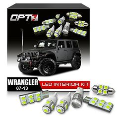 OPT7 Interior JK Jeep Wrangler White LED Replacement Light Bulbs Set