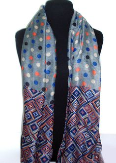 polka dot fabric with a geometrical design at the end of the scarf_fashion woman accessories.