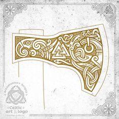 the mask of the god, valknut and the crow - design for axe Art Viking, Rune Viking, Viking Axe, Viking Symbols, Viking Knotwork, Norse Tattoo, Viking Tattoos, Viking Designs, Celtic Designs