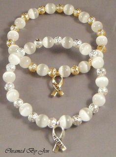 New LUNG CANCER Awareness Cat's Eye & Filigree Stretch Bracelet w/ Ribbon Charm