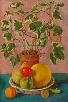 Alfred Reginald Thomson (British, 1895-1979) Still life with ivy and bowl of fruit.