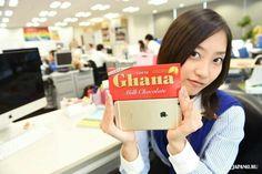 iPhone 6 Plus and Ghana Milk Chocolate are the same size! ! !  #lotte #ghana #chocolate #japankuru #japan #100tokyo #tokyo #cooljapan #office