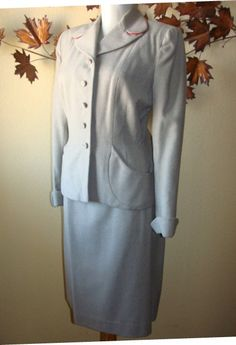 2 PC Light Gray Wool Ladies Mid Century Suit Pencil Skirt