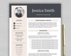 Modern Resume Template For Mac  Pc  Creative Resume  Resume