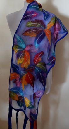 Scarf Tropical flowers flower silk felt wool blue by CozyFelt