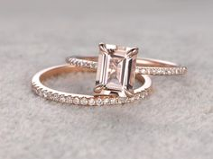 Morganite Engagement ring set Rose gold,Diamond wedding Cut,Gemstone Promise Bridal Ring,Claw Prongs,Pave Set by popRing on popRing Classic Engagement Rings, Rose Gold Engagement Ring, Engagement Ring Settings, Morganite Engagement, Halo Engagement, Vintage Gold Engagement Rings, Gold Diamond Wedding Band, Wedding Bands, Vintage Engagement Rings