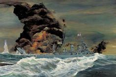 A reconstruction of the sinking of the Royal Navy battlecruiser HMS Hood in Denmark Strait. HMS Hood sinks under a pall of black smoke and flame while another Royal Navy warship sails past in the foreground. Hms Prince Of Wales, Hms Hood, Capital Ship, Ship Paintings, Military Armor, Naval History, Vintage Comic Books, Nautical Art, Navy Ships