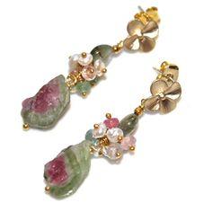 Rustic Watermelon Tourmaline Slice Earrings Rainbow Tourmaline Gold Vermeil Dangle Earrings Gemstone Jewelry,