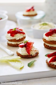 50+ Best Recipes for Fresh Strawberries - Mini Lime and Strawberry Cheesecake