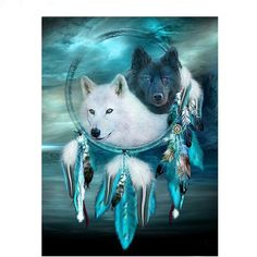 Juanshi One Set Full Drill White Wolf Dream Catcher Diamond Painting DIY Embroidery Art Kits Gift Care-Cleaning Cleaners Cleaners Pieces Dishes Supplies Dream Catcher Painting, Dream Catcher Art, Dream Catcher White, Native American Wolf, Dream Catcher Native American, Native American Pictures, Wolf Photos, Wolf Pictures, Anime Wolf