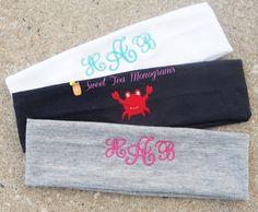 Monogram Critter Headbands - monogram on front & critter on the back!