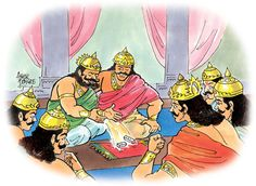 Here Shakuni was adept in this game of dice. He had specially prepared dice that followed his command! He could very easily fix the game where victory of Kauravas was assured. Thus after proper persuasion, Dhritarashtra sent invitation to Yudhisthira to participate in the game of dice...
