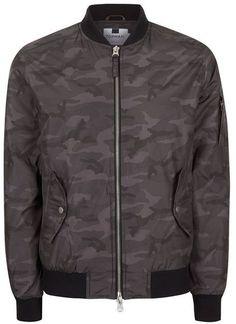 Topman Gray Camouflage Bomber Jacket